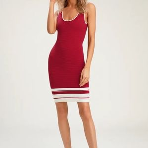 Red Striped Sleeveless Ribbed Bodycon Dress